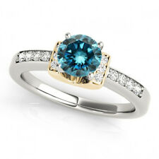 0.85 Carat Blue Diamond Solitaire Engagement Ring 14k White & Yellow Gold