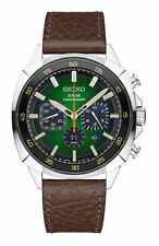 Brand New Seiko SSC513 Solar Chronograph Brown Leather Green Dial Men's Watch