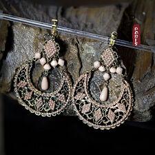 Boucles d`Oreilles Clip Grosse Pendante Mini Perle Rose Creux Soirée Cadeau EE 1