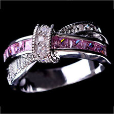 Pink Sapphire CZ Cross Wedding Ring Men/Women's 10KT White Gold Filled Size 6-10
