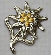 WWII German Officer Edelweiss Mountain Metal Cap Badge Insignia-GM005