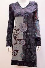 HIPPY BOHO PATCHWORK PSYCHEDELIC FLORAL OPTICAL TUNIC COTTON DRESS BLACK 12 14