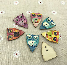 25pcs Mixed Cartoon printing owl Wooden Buttons Fit Sewing Scrapbooking 28mm