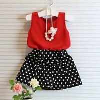 Toddler Kids Girls Outfits Clothes Baby T-shirt Tops+Skirt Dress 2PCS Sets 2-7Y