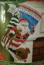 "BUCILLA 18"" CHRISTMAS FELT STOCKING KIT NORDIC SANTA REINDEER GIFTS NEW"
