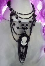 Victorian Gothic Cameo Black Glass Bead Necklace Pendant Goth