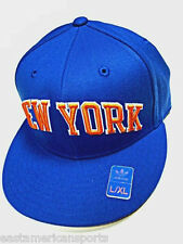 New York Knicks NBA Adidas Solid Blue Orange Flat Visor Hat Cap Flex Fit L/XL