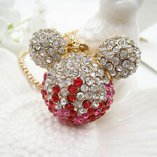 Fashion Lady Pink Crystal 3D Mickey Mouse Head Pendant Chain Sweater Necklace