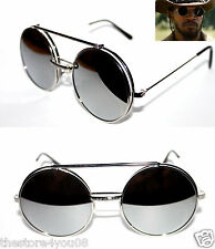 Django Round Shape Flip Up Sunglasses Metal Silver Frame Silver Mirrored lenses