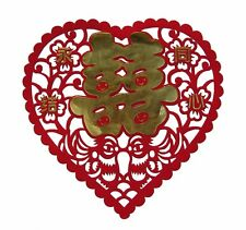 Feng Shui Heart Shaped Chinese Paper Cut Wedding Double Happiness Sign