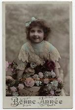 Carte postale ancienne | Fillette | Bonne Année | Jolis vêtements | Bonne Année