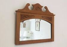 Vtg Victorian Recency Bevelled Wall Hall Mirror Carved Rustic Light Wood Frame