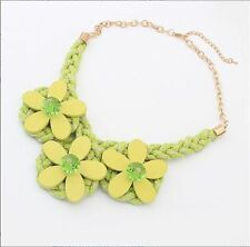 Yellow Woman Hot New Fashion clavicle Wood flower Handwoven Crystal Bib Necklace