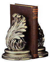 Bey-Berk R11E Leaf Bookends Antique Silver Finish