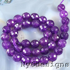 "12x12mm Amethyst Purple Color Natural Jade Faceted Round Beads 15""(JA180)c"