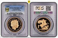 GREAT BRITAIN 2000 GOLD PROOF QEII ST GEORGE & DRAGON FIVE POUND PCGS PR70 DCAM