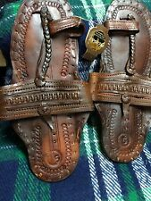Buffalo Sandals Brown Leather Handmade Hippy Retro Toe Ring Style Sz 5