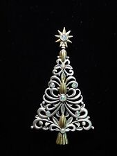 """JJ"" Jonette Jewelry Silver & Gold Pewter 'Jeweled CHRISTMAS Tree' Pin"