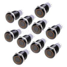 10*Angel Eye Black Led 16mm hole 12V Metal Latching Switch-ORANGE