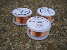 3 BOBBINS OF COPPER WIRE 0.4mm 0.6mm 1.0mm NON TARNISHING - craft wire -