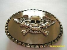 Skull Flying Crossbone Belt Buckle