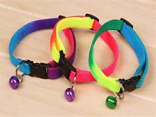 New Fancy Rainbow Collar With Small Bell for Pet Cat Dog Adjustable Collar WS