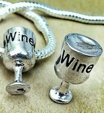 2PC LOT Antique Silver 3D Glass of WINE European Bead Charms fit Bracelet