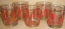 VERY RARE! Fire King Anchor Hocking Wine Themed Cocktail Orange Barrel Glasses!