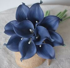10 Navy Blue Calla Lilies Real Touch Flowers For Silk Bridal Bouquet Centerpiece