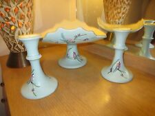 VINTAGE HULL BLUE SERENADE FOOTED FRUIT BOWL WITH MATCHING CANDLESTICKS