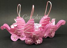 24 Fillable Baby Shower Pouches Carriages Pink baby Favors Party Decorations