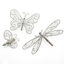 Set of 3 Metal Vintage Butterfly, Dragonfly and Bee Wall Art for Home or Garden