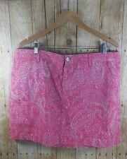 G.H bass co new Skirt 14 mini pink paisley cotton belt loop zipper pocket button