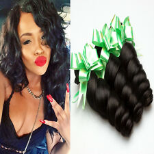 "3Bundles Unprossed Virgin Brazilian 8""Loose Wave Weft Remy Human Hair Weft Weave"