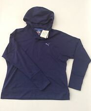 PUMA Women's Blue Pullover Hooded Sweatshirt Hoodie DryCELL NWT Size L MSRP $ 35