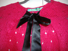 NEW ANTHROPOLOGIE FUCSIA PINK WOOLEN CAPE WITH BLACK RIBBON ONE SIZE