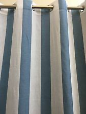MONTEGO Striped Eyelet Curtains -140 cm x 221 cm Drop -Blue-Beach Look