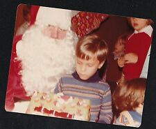 Old Vintage Photograph Little Boy With Santa and Christmas Gift / Present 1978