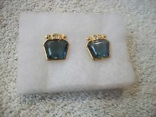 NOLAN MILLER Unique Earrings Pierced Unusual Blue & Clear Crystals Goldtone New