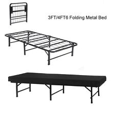 3FT Metal Bed single Folding Guest Bed in Black Fold Up Away Spare Bed Camping