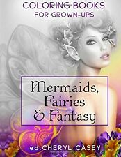 GRAYSCALE Coloring Book Mermaids Fairies Fantasy Adults Stress Relief Art Fun