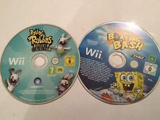 2 NINTENDO Wii GAMES RAVING RABBIDS PARTY COLLECTION + SPONGEBOB BOATING BASH