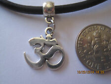 Black Leather Cord Choker Necklace with om 0.10in charm adjustable lobster clasp
