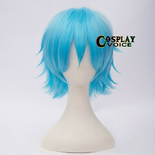 Heat Resistant Sky Blue Short Layered 30cm Halloween Anime Cosplay Wig+Cap