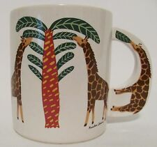 Vintage Kristen Chiara Art Giraffe Safari Savannah Cup Mug Zoo Animal Palm Tree