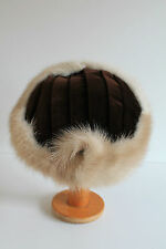 Vintage Ladies 1940's / 50's Brown Velvet Hat With Real Blonde Mink Trim