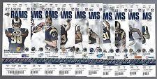 2013 NFL ST LOUIS RAMS FULL UNUSED FOOTBALL TICKETS - ENTIRE HOME SEASON