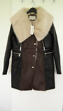 SOLD OUT!!! RIVER ISLAND BLACK & BROWN COMBINED FAUX SHEEPSKIN COAT SIZE UK 12