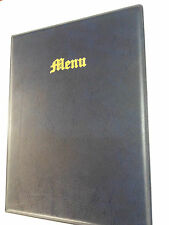 A4 MENU COVER/FOLDER IN BLUE LEATHER LOOK PVC - OLD ENGLISH LOOK