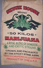 HUGE SKUNK BRAND  BURLAP BAG marijuana pot leaf storage wall hanging #11 WEED